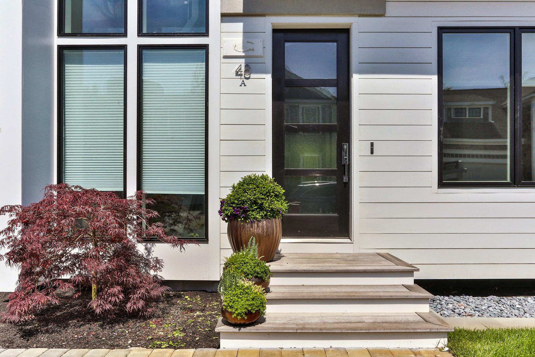 Modern white siding with black windows.