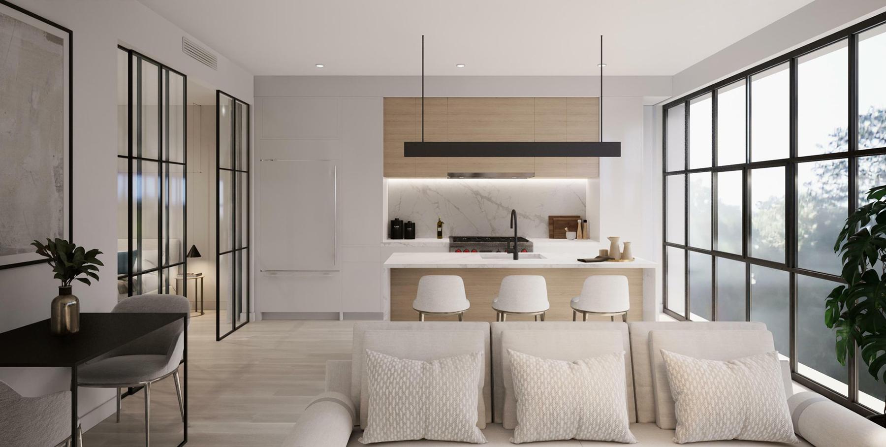 Beautiful modern living room featuring black windows.