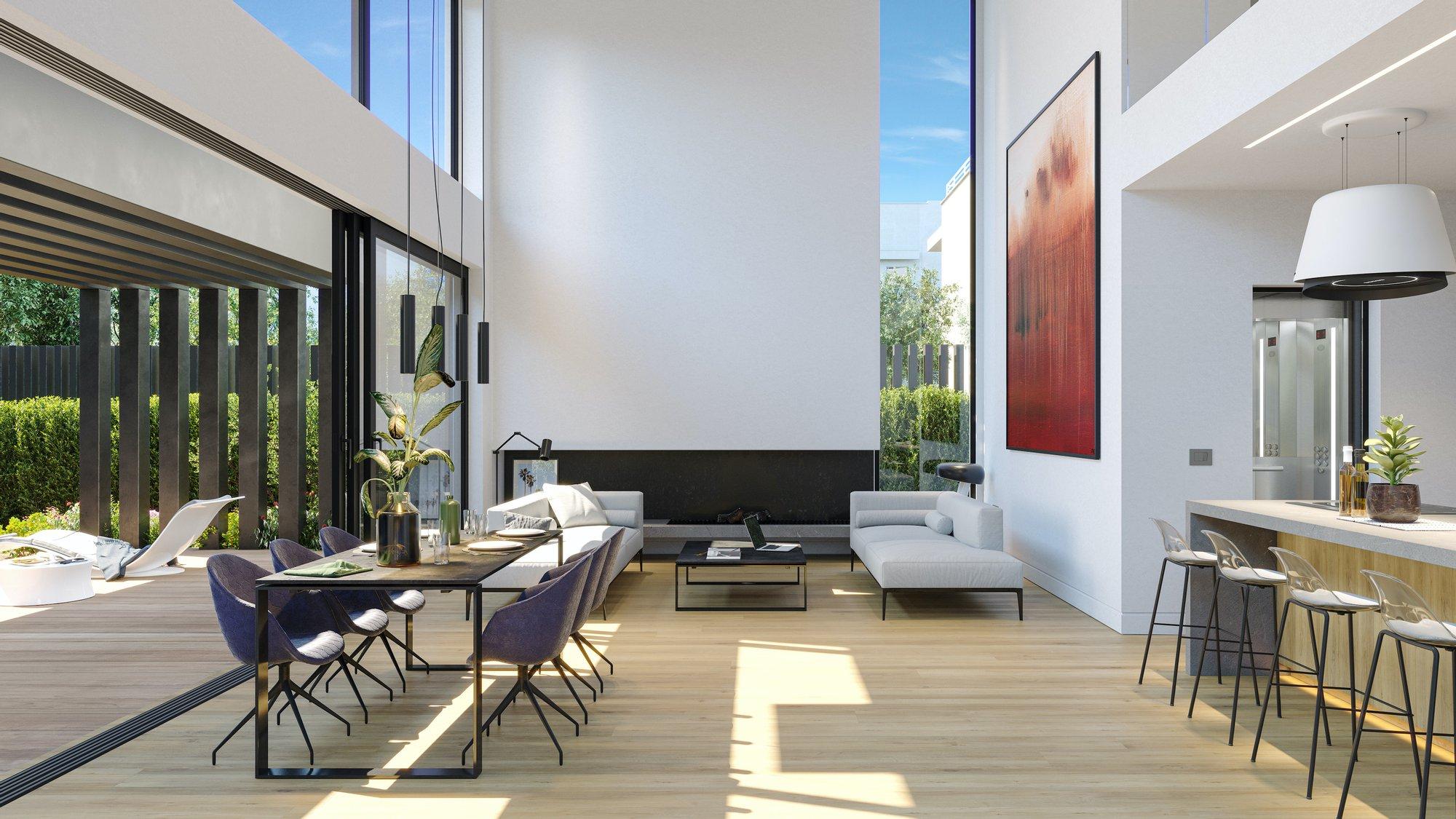modern home with thin black frame windows