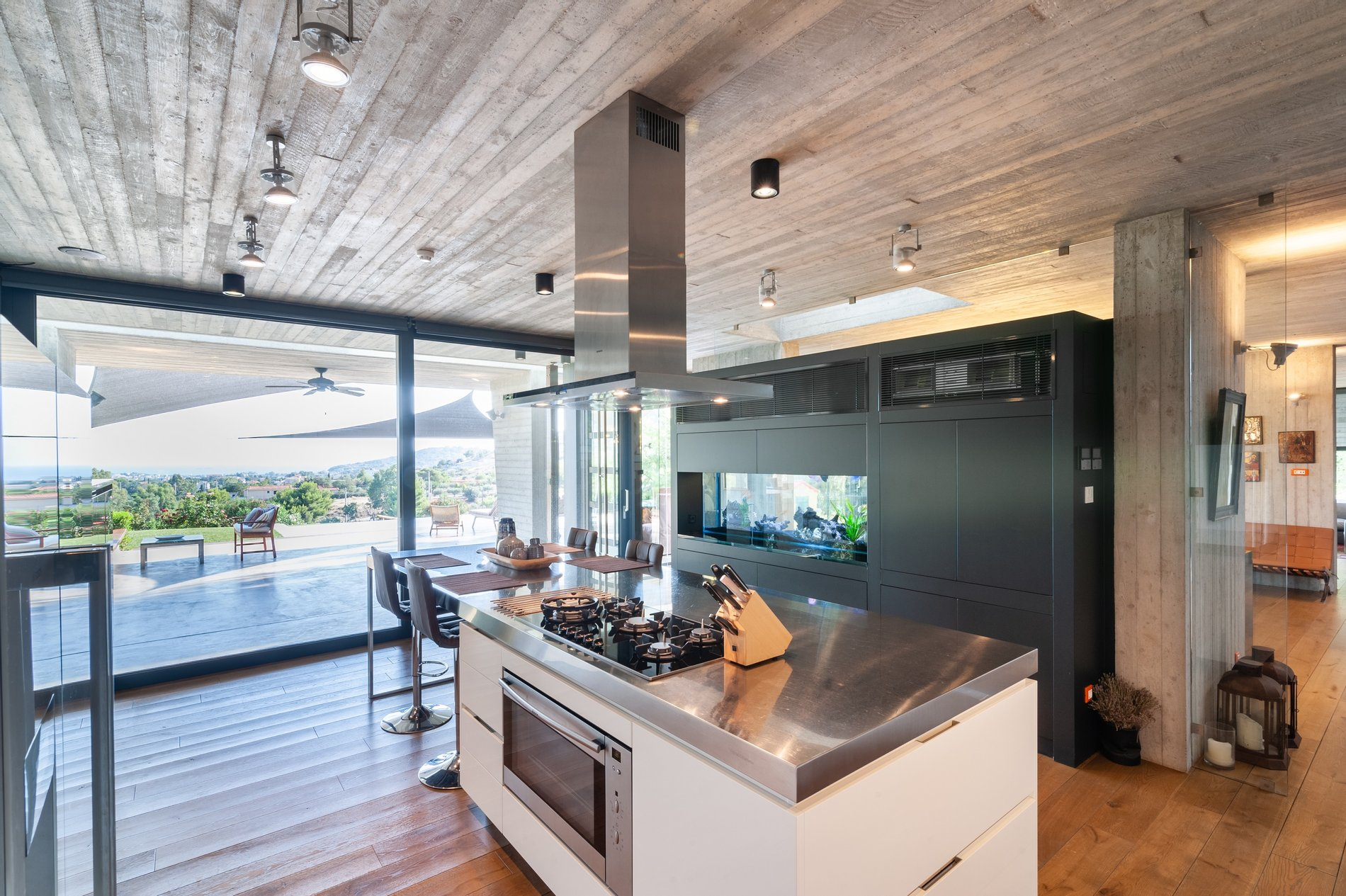 Modern kitchen with black windows and gliding doors.