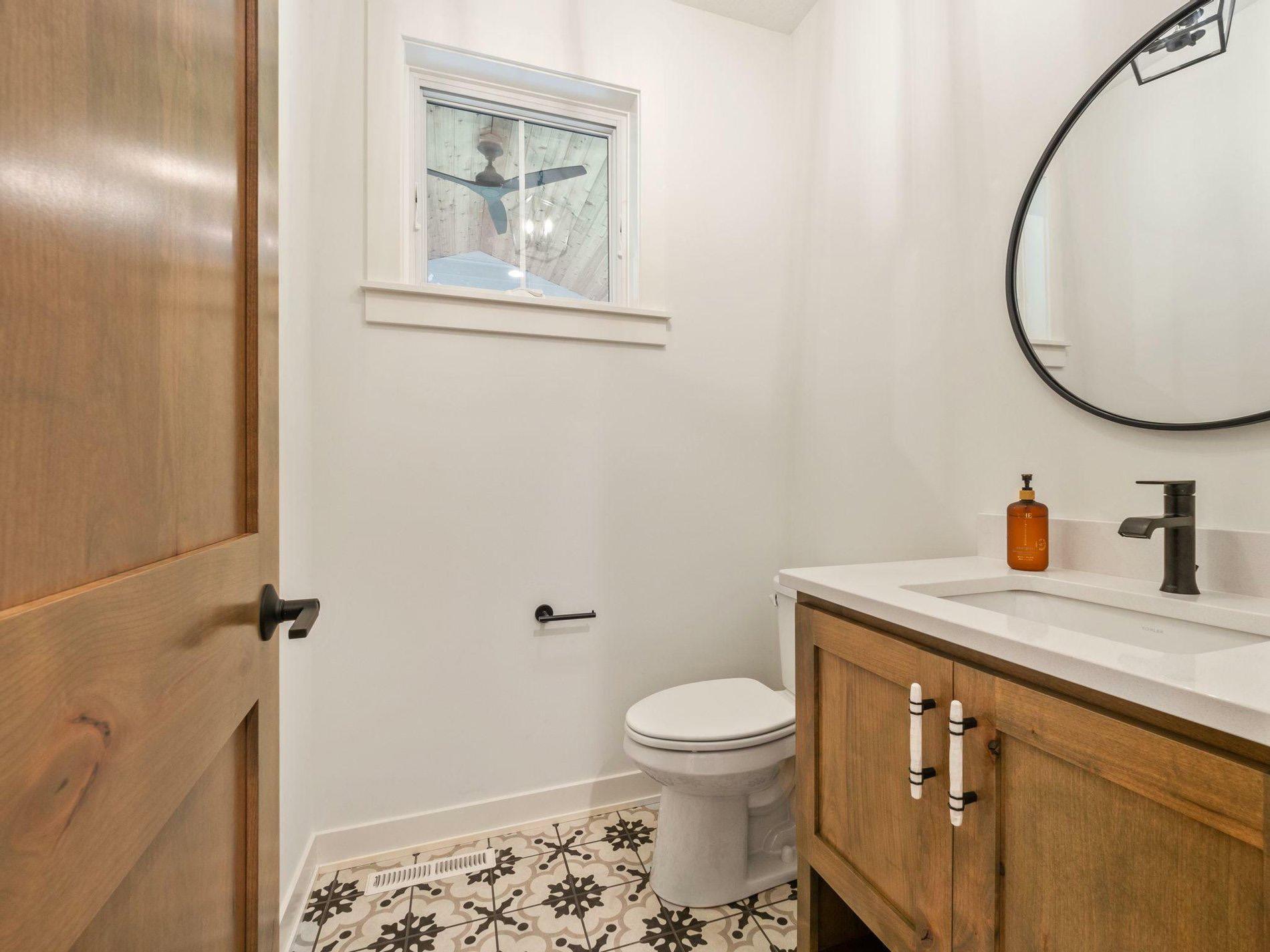 simple cheap bathroom remodel with wood vanity